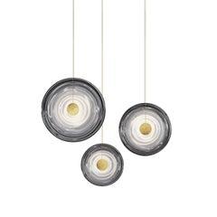 'Liquid Vortex Trio Smoke' Gradient Glass & Aged Brass Ceiling Light, Cluster