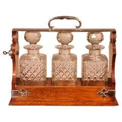 Liquor Cellar in Silver Metal and Oak Three Crystal Bottles, 19th Century