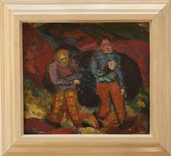 "Oil on Canvas  ""Arbeiter in Barmen"" 1920s by Lis Bertram-Ehmsen"