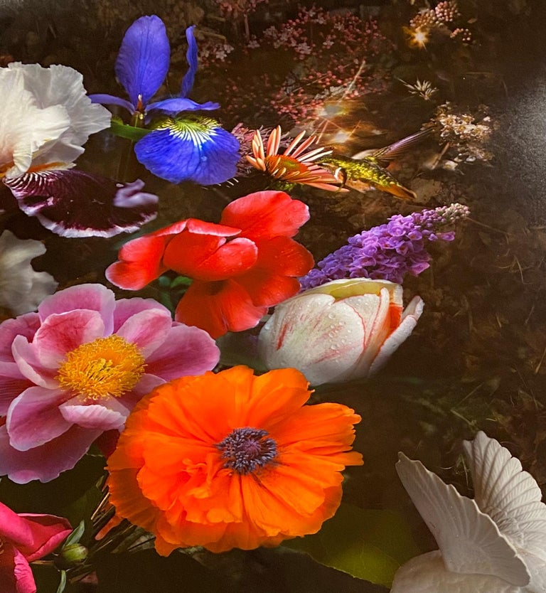 This botanical still life arrangement of orange, pink, yellow and purple flowers is dramatic and mysterious against a dark black background. A white porcelain bird figurine stands to the right of the bouquet, a crystal geode and shell to the