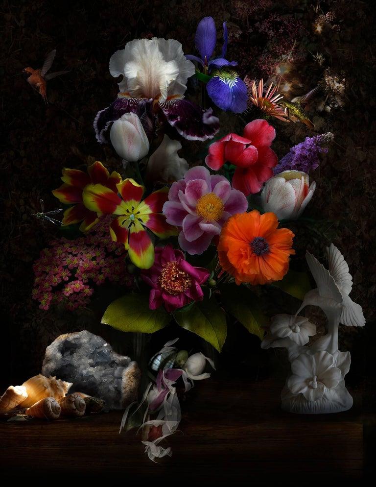 Lisa A. Frank Color Photograph - Still Life with Hummingbirds, Botanical Still Life Photograph with Bird, Crystal