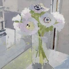 "Lisa Breslow ""Anemones"" Floral Still Life Oil Painting"