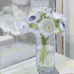 "Lisa Breslow ""Flowers in a Window"" - Interior scene oil on panel"