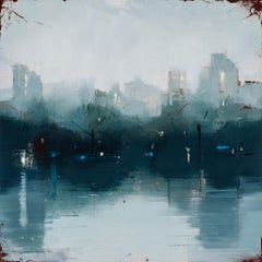 "Lisa Breslow ""Nocturne 1"" - Landscape Oil Painting on Panel"