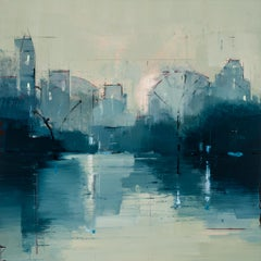 "Lisa Breslow ""Nocturne 2"" - Landscape Oil Painting on Panel"