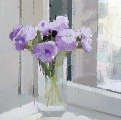 "Lisa Breslow ""Purple Flowers"" -- Floral Still Life Oil Painting on Panel"