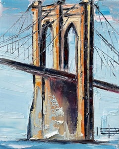 Across the Brooklyn Bridge, Oil Painting