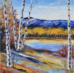 Beautiful Birch Lisa Elley Oil painting on stretched canvas