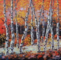 Benevolent Birch Lisa Elley Oil painting on stretched canvas