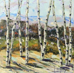 Birch Eloquence Lisa Elley Oil painting on stretched canvas