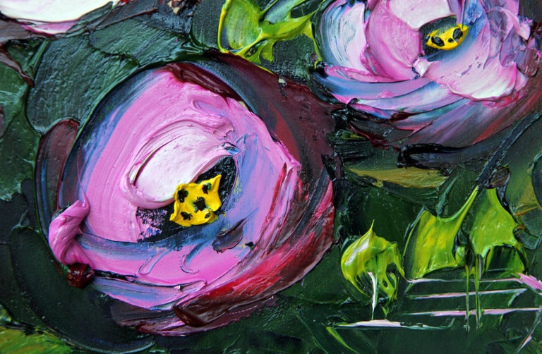 Peonies in the Wild - Black Still-Life Painting by Lisa Elley