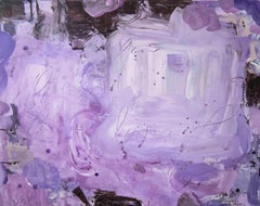 Allure, bright purple abstract painting on canvas