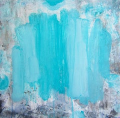 Beams Blue, abstract painting on canvas, broad blue strokes