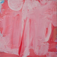 Coral Crush, pink abstract expressionist painting on canvas, textured