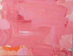 Coralina, pink, orange and coral abstract expressionist painting on canvas