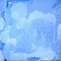 Out of the Blue, blue abstract expressionist painting on canvas, textured