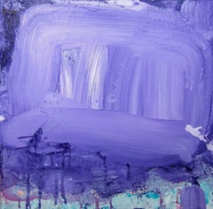 Purple Phase, abstract acrylic painting on canvas, purple and blue