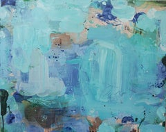 Sub Marine, cool blue abstract painting on canvas