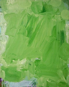 Time for Lime, bright green abstract expressionist painting on canvas