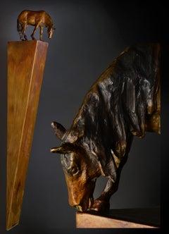 Overlook II #4 (horse, bronze, antiqued finish, curious, precarious balance)