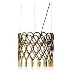 Lisa Hilland ELD Flush Mount Chandelier Raw Brass Lamp by Konsthantverk Tyringe