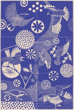 'Chittering and Chattering'  Folk-like linoleum print of birds in blue and white