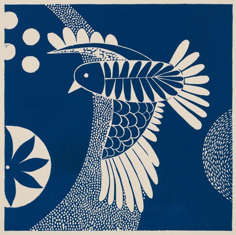 'Chittering and Chattering I'  Folk inspired blue/white linoleum print of bird - Print by Lisa Houck