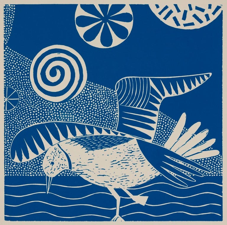 'Chittering and Chattering I'  Folk inspired blue/white linoleum print of bird - Blue Figurative Print by Lisa Houck