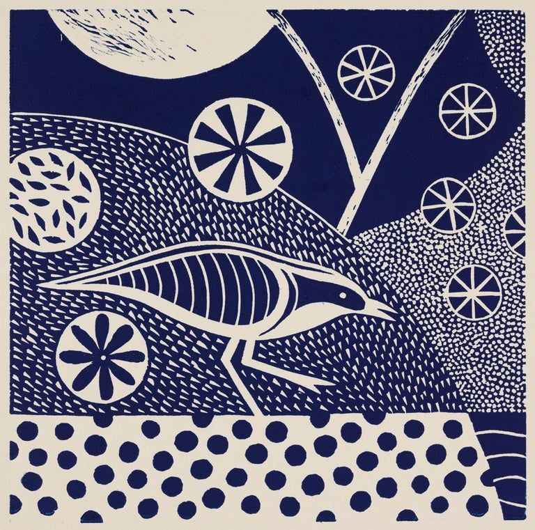 'Chittering and Chattering I'  Linoleum Block Print,  Edition 10,  11 5/8 x 11 5/8 Inches, is one of a series of 6 related prints in this size in varying shades of blue.   Sold individually or as sets of 2, 3, 4, 5 or 6.  There is also a series of 8