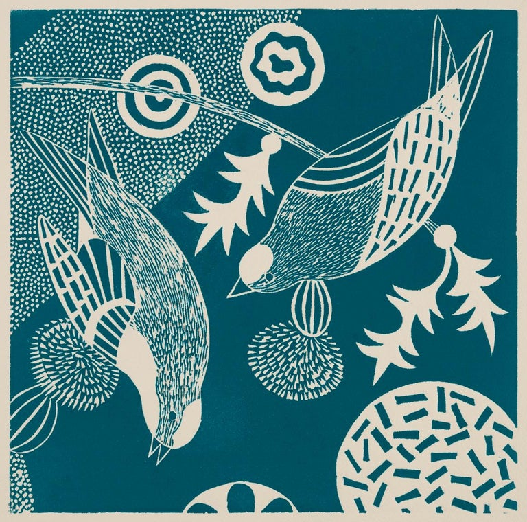 'Chittering and Chattering I'  Folk inspired blue/white linoleum print of bird For Sale 1