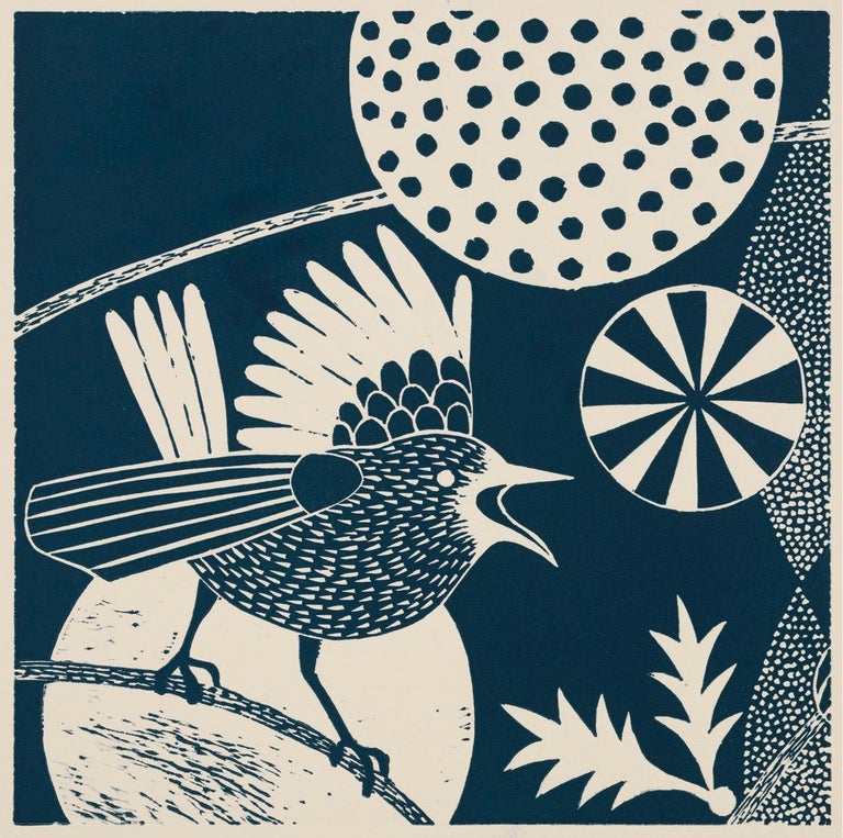 'Chittering and Chattering I'  Folk inspired blue/white linoleum print of bird For Sale 2