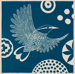 'Chittering and Chattering I'  Folk inspired blue/white linoleum print of bird