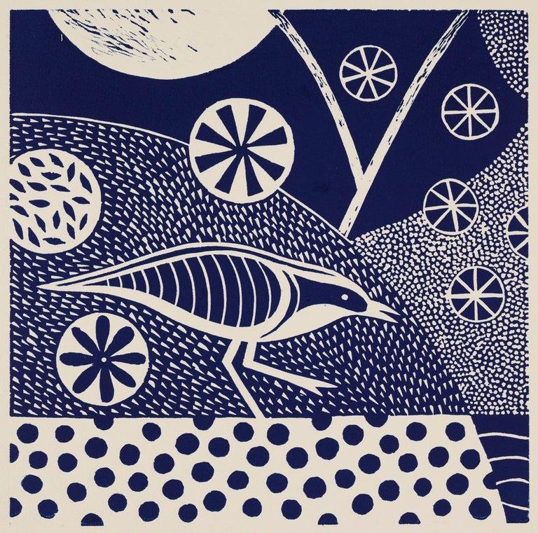 'Chittering and Chattering VI'   Folk inspired blue/white linoleum print of bird - Blue Animal Print by Lisa Houck