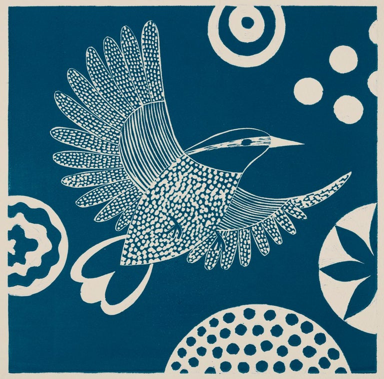 'Chittering and Chattering VI'   Folk inspired blue/white linoleum print of bird For Sale 2