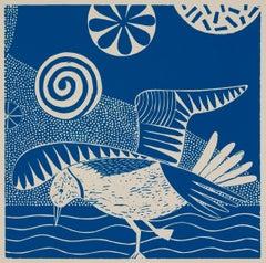 'Chittering and Chattering VI'   Folk inspired blue/white linoleum print of bird