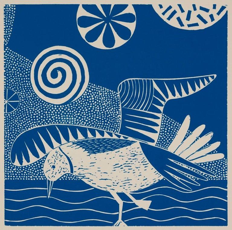 Lisa Houck Animal Print - 'Chittering and Chattering VI'   Folk inspired blue/white linoleum print of bird