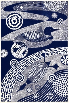 'Dipping and Diving'   Folk inspired linoleum block print of ducks in blue/white