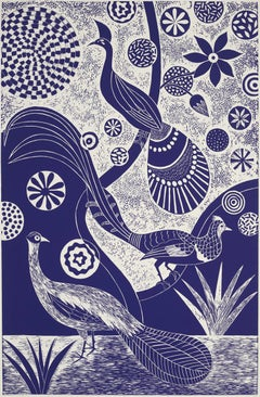 """Preening and Posing,"" Folk inspired Blue Linoleum Block Print of Peacocks"