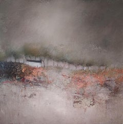 Lisa House, Autumn Snow, Original Landscape Painting, Mixed Media Art