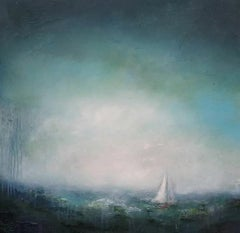 Lisa House, Emerald Sail, Contemporary Seascape Painting, Boat Art, Textured Art