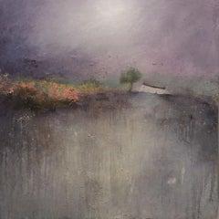 Lisa House, Lavender Moon, Abstract Landscape Painting, Purple Art, Gold Art