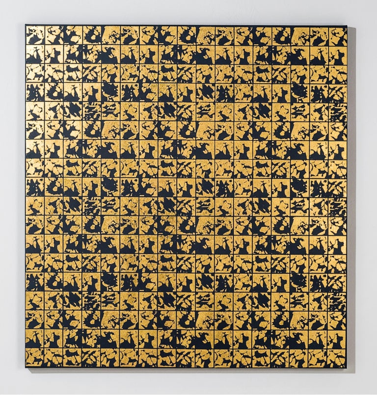 Lisa Hunt's ABSTRACT VARIOUS CANVAS II is an abstract screen printed work on canvas, painted with acrylic paint and hand-applied 24K gold leaf. It is a graphic, gridded abstract pattern consisting of repeated with coil shapes. The works on canvas in