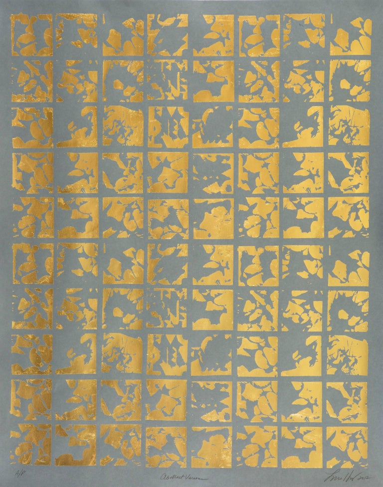 Abstract Various (design gold grey metallic work on paper abstract patterns) - Mixed Media Art by Lisa Hunt