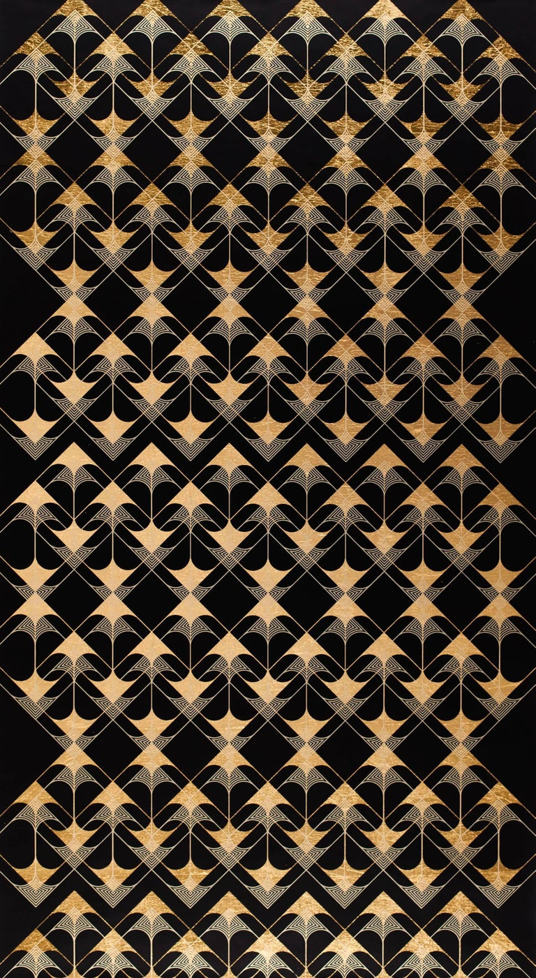 Crossing Arrows Black (design gold black work on paper patterns Art deco) - Mixed Media Art by Lisa Hunt