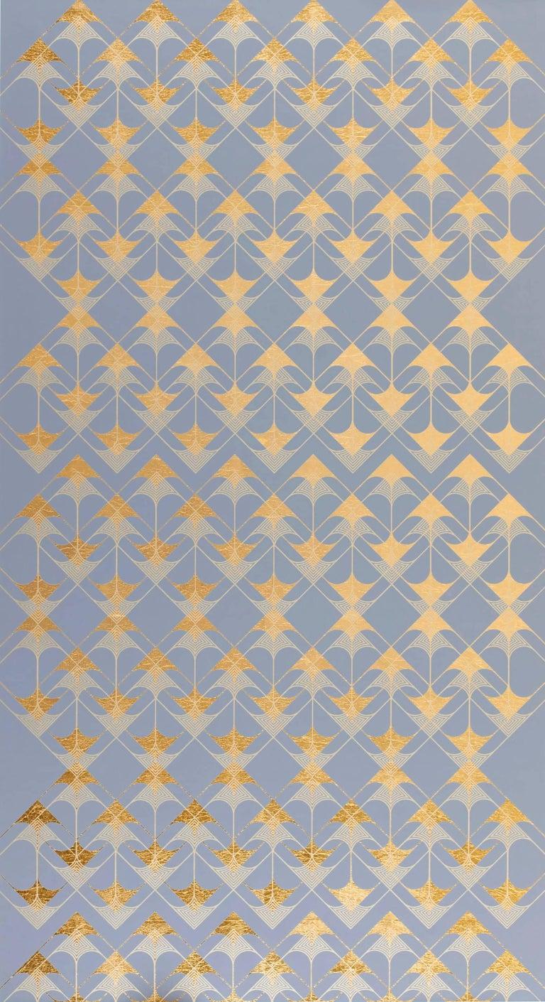 Lisa Hunt Abstract Print - Crossing Arrows Grey (design gold grey metallic work on paper Art Deco arabesque