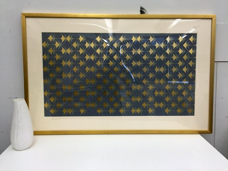 Crossing Arrows Grey (design gold grey metallic work on paper Art Deco arabesque - Print by Lisa Hunt