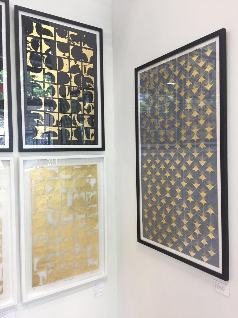 Crossing Arrows Grey (design gold grey metallic work on paper Art Deco arabesque - Gray Abstract Print by Lisa Hunt