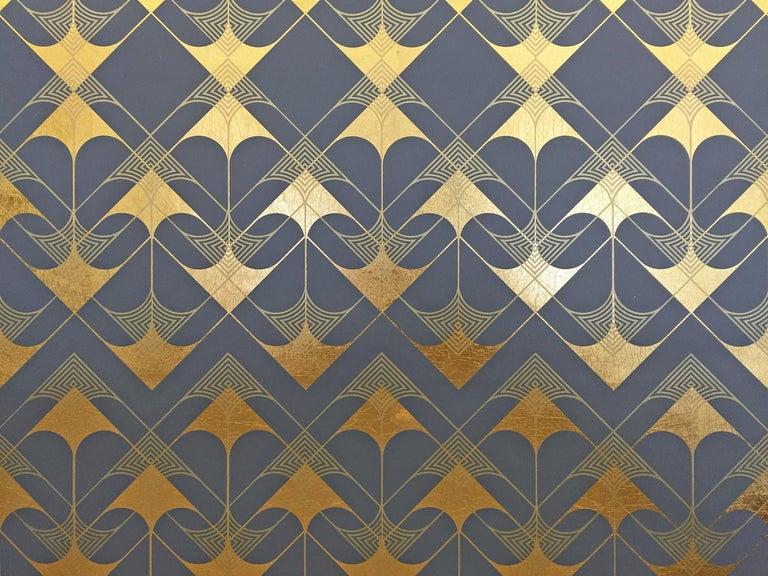 Crossing Arrows Grey (design gold grey metallic work on paper Art Deco arabesque For Sale 1