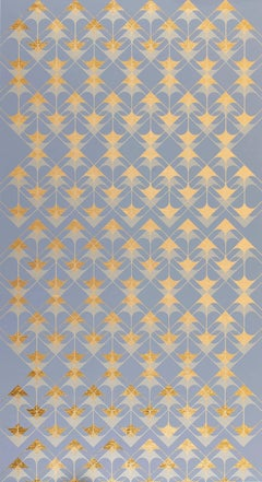 Crossing Arrows Grey (design gold grey metallic work on paper Art Deco arabesque