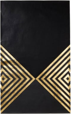Hunt Arrows (design gold black metallic work on paper gold stripes Art Deco)